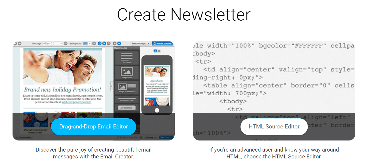 Getresponse drag and drop email editor to help you create beautiful email newsletters easily.