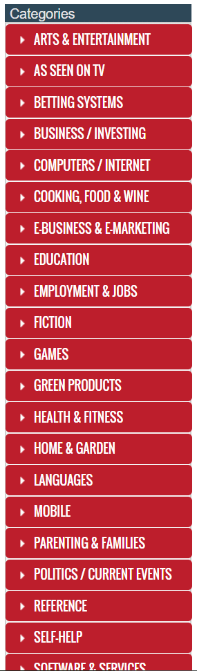 clickbank product categories