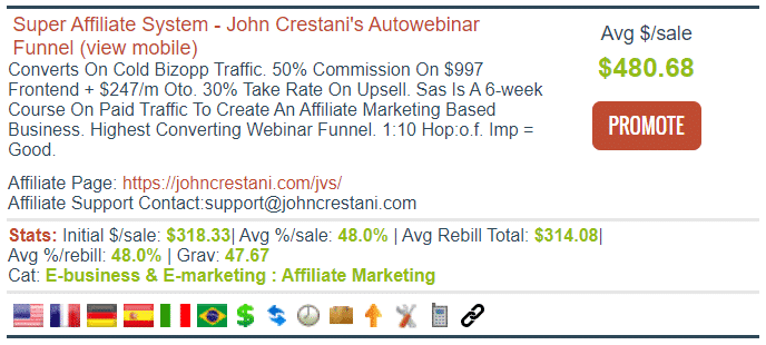 Super Affiliate System ClickBank Product