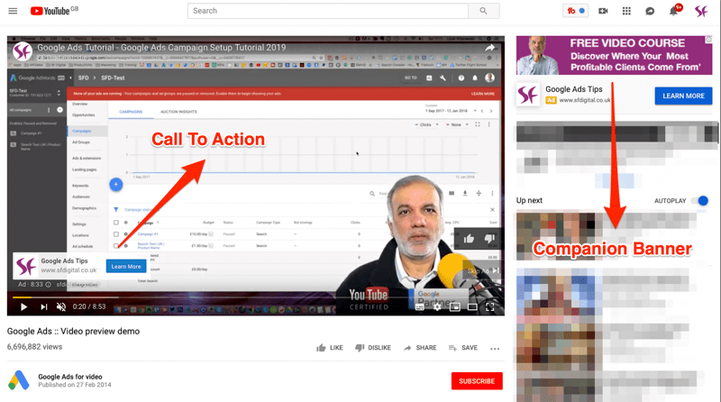 Youtube video ad preview example.
