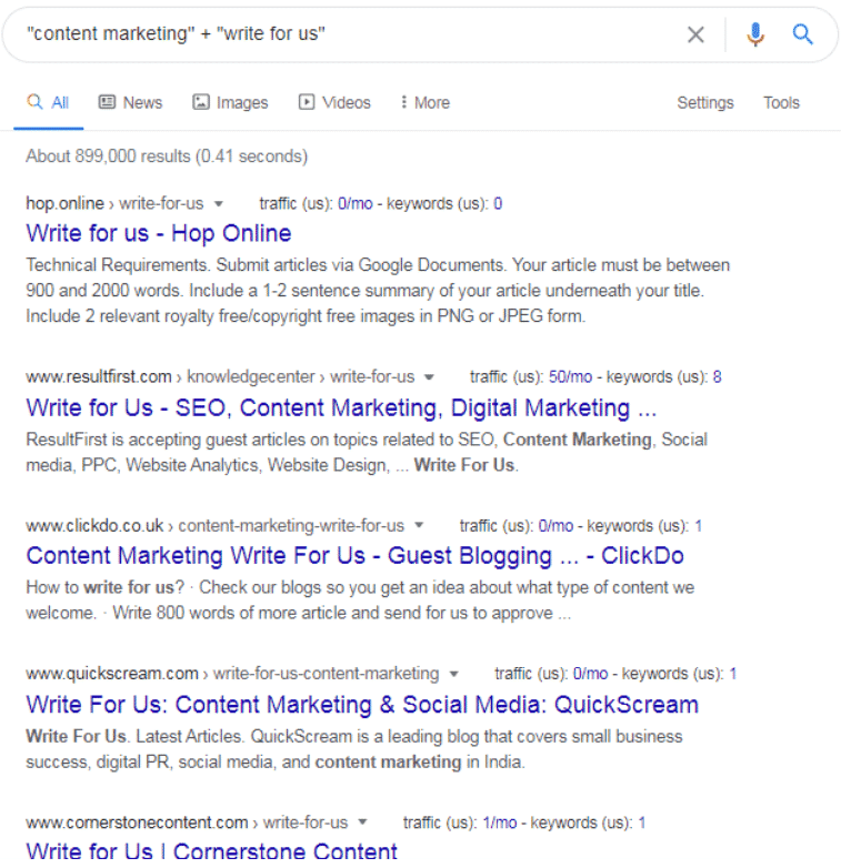Google Search Results for Write for Us Keyword