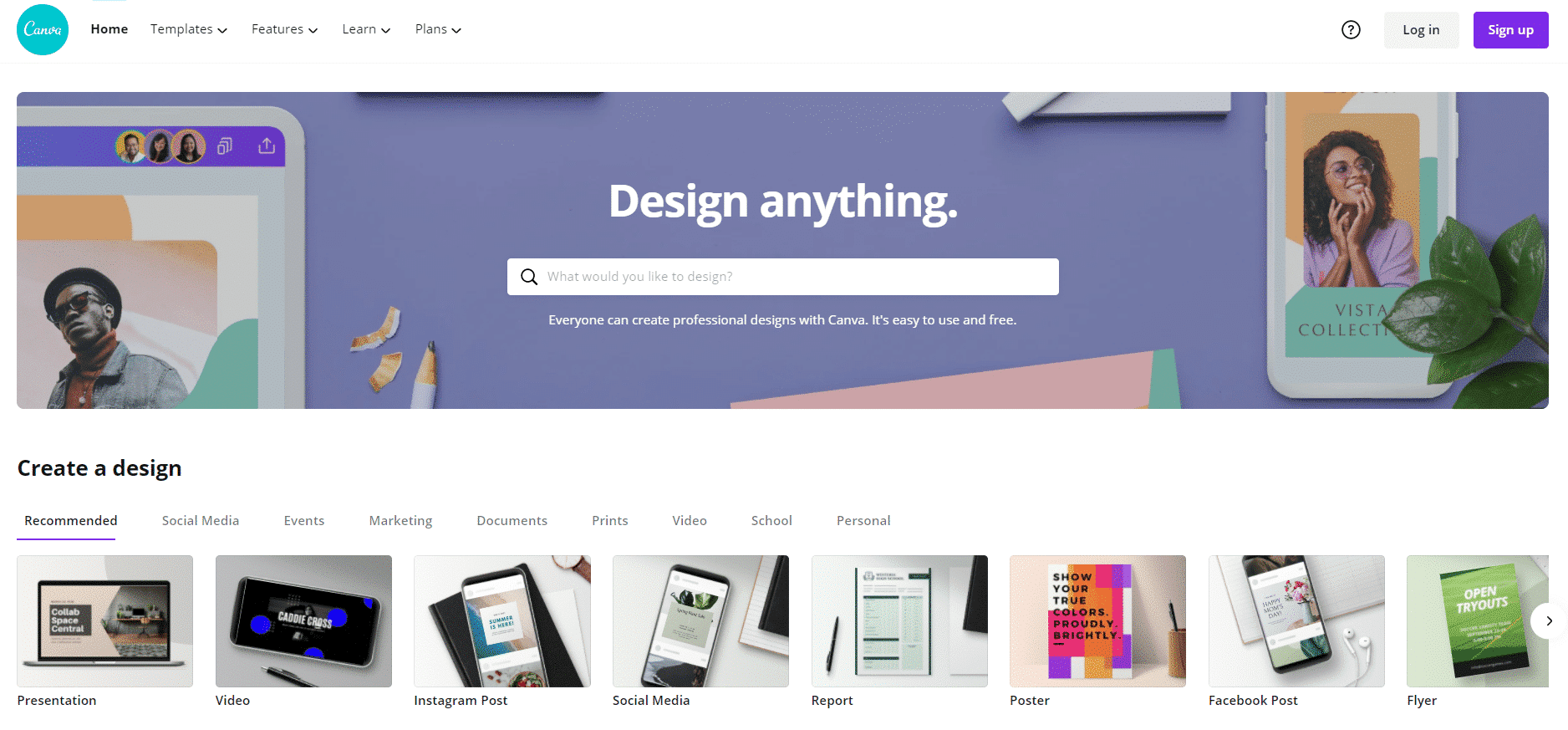 Canva Homepage - Design Beautiful Images