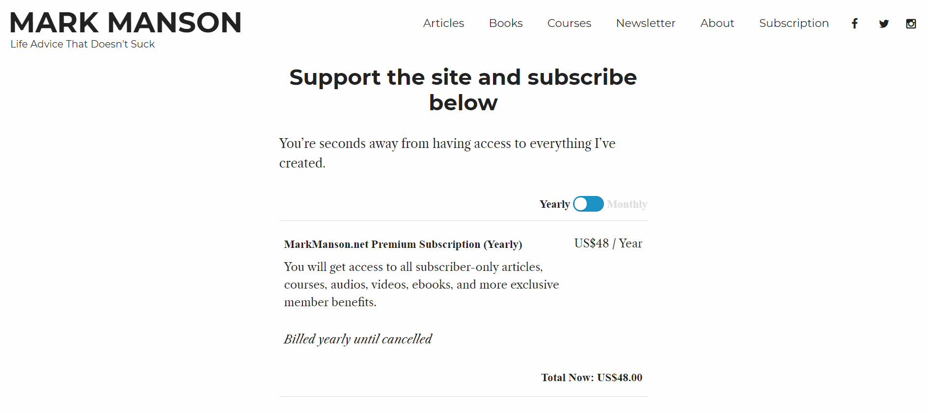 Mark Manson Subscription Page