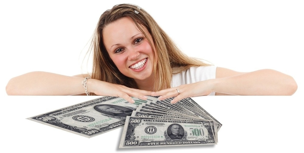 A Girl with Money White Background
