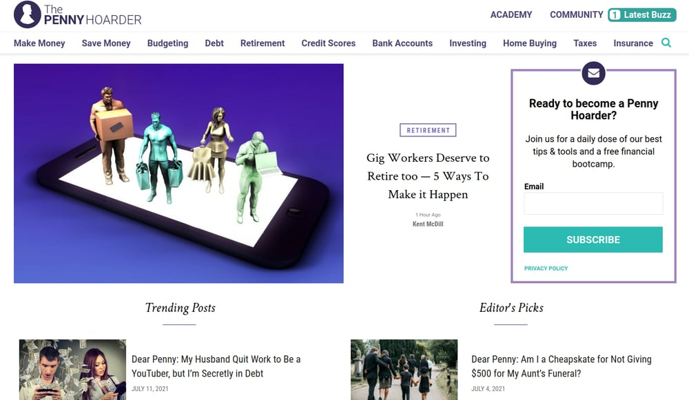 The Penny Hoarder Homepage