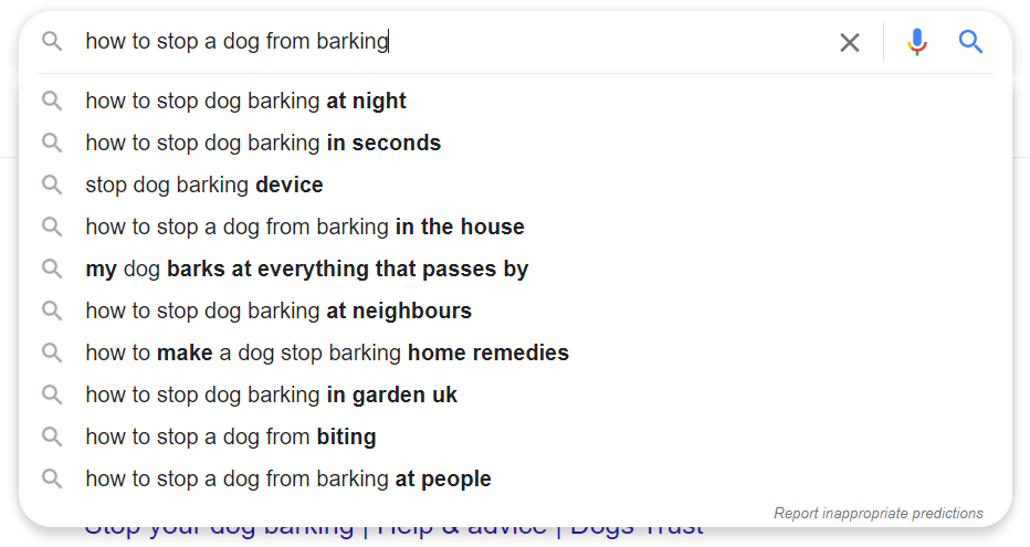 How to Stop a Dog Barking Google Search Results